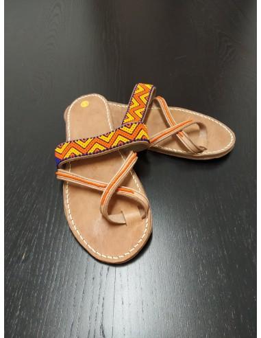 Sandali cuoio modello Zigzag