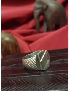 Anello in argento a fascia esagono