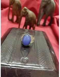 Anello in argento con pietra ovale in agata glicina