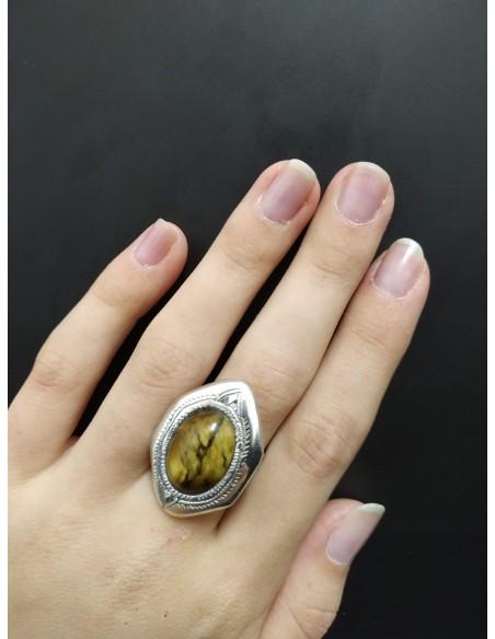Anello in argento con pietra ovale in agata screziata
