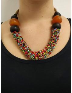 Collana con perline multicolor, legno d'ebano e ambra