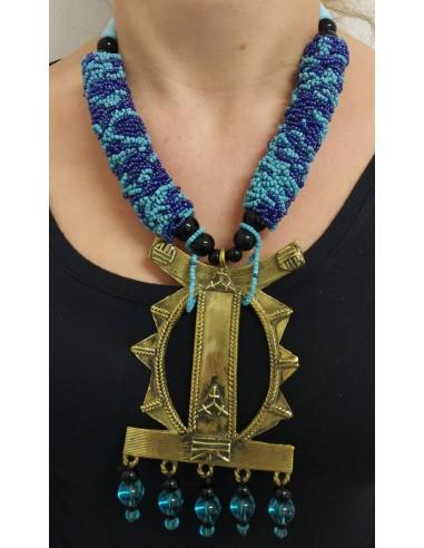 Collana con perle perline in onice nero, perline e pendente
