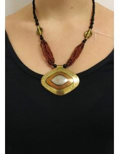 Collana con perline in onice nero, perline e pendente