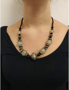 Collana con perline e perle in onice nero, pietre, argento