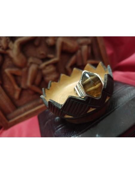 Anello in argento con pietra esagonale agata marrone e beige
