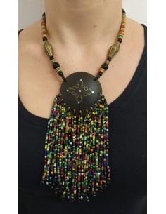 Collana con perline in onice nero, perline e dischetti