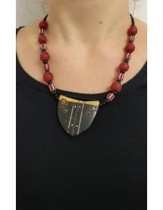 Collana con perle in vetro - onice nero - vetro con disegni