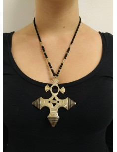 Collana con perle in onice nero e argento - ciondolo in argento