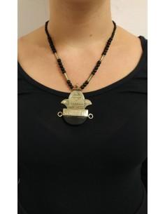 Collana di perline e perle in onice nero e argento con ciondolo