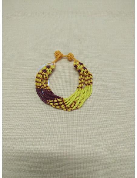 Bracciale perline rosse e gialle