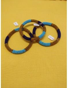 Bracciale perline col. oro, turchese e blu