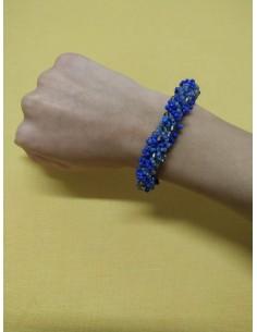 Bracciale perline bluette, blu e trasparenti