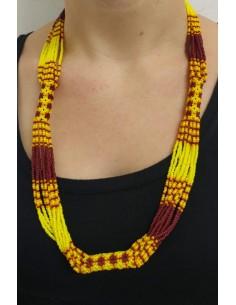 Collana perline rosse e gialle