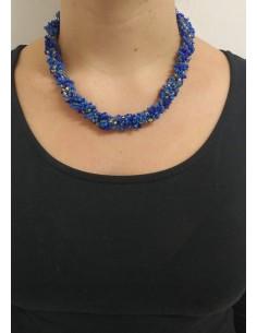 Collana perline col. bluette, blu e trasparenti