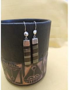 Orecchini pendenti in argento e legno d'ebano