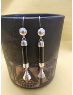 Orecchini pendenti in argento e onice nero