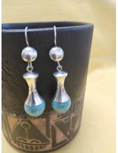 Orecchini pendenti in argento e pietra turchese screziata
