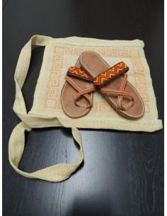 Borsa e sandali in cuoio modello Zigzag