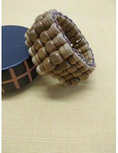 Bracciale in legno con perline