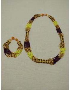 Bracciale e Collana in perline gialle e rosse