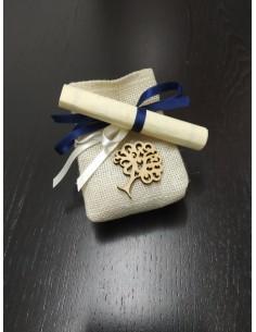 Sacchettino in iuta con decorazione (albero della vita)